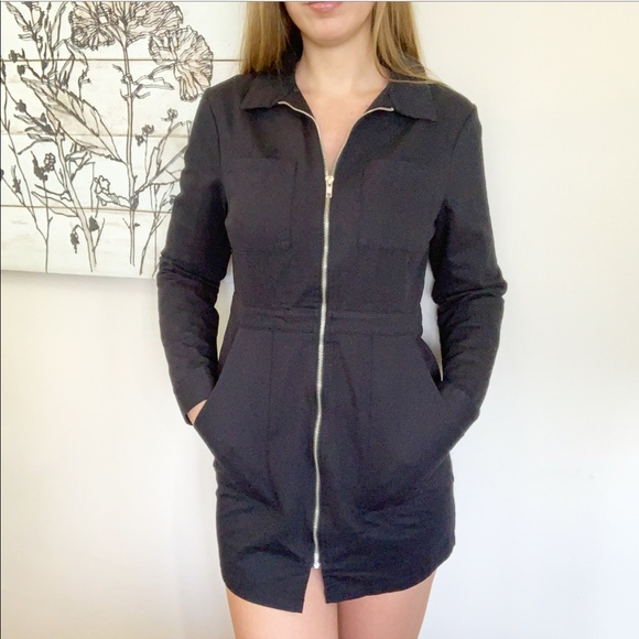 'Penelope' Zip Up Long Sleeve Twill Dress Boutique